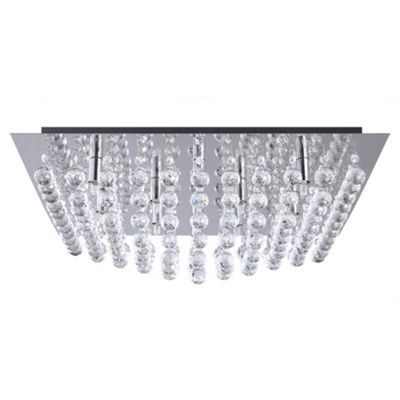 Litecraft Galaxy K9 Crystal Chrome Flush Ceiling Light At