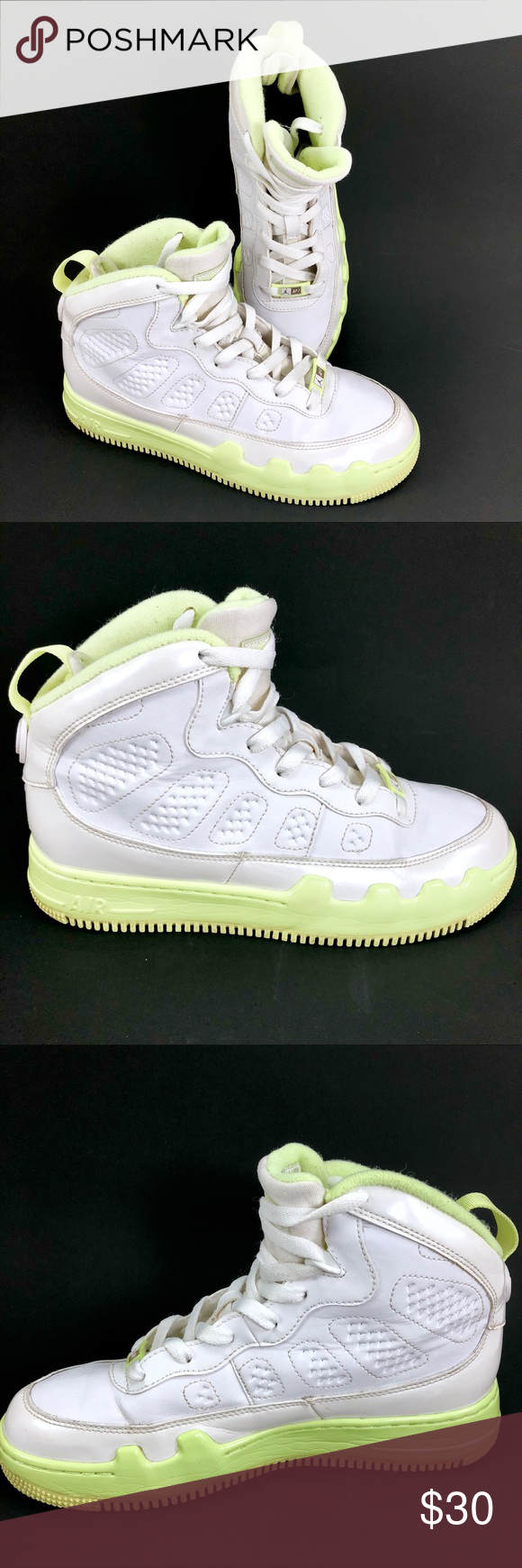 4b90e9cdcf2fba Nike Air Jordan Fusion 9 GIRLS 6y Youth AJF Lime Kids shoe size 6. Nike