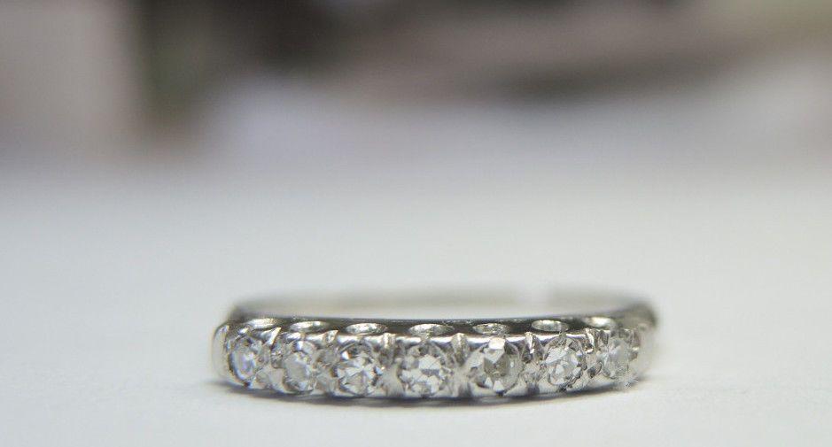 Antique Diamond Wedding Band Platinum Ring Size 6 EGL USA Art Deco Vintage Ring