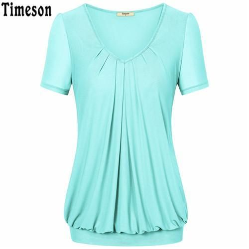dca1a141d5a Summer Tops Women Short Sleeve V-Neck Dressy Tunic Tops Front Pleated