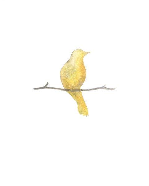 Serenity Bird Yellow Shabby Chic Minimal Chic Wall Art Archival Watercolor Print 20 00 Via Etsy With Images Yellow Bird Tattoo Chic Wall Art Birds Tattoo