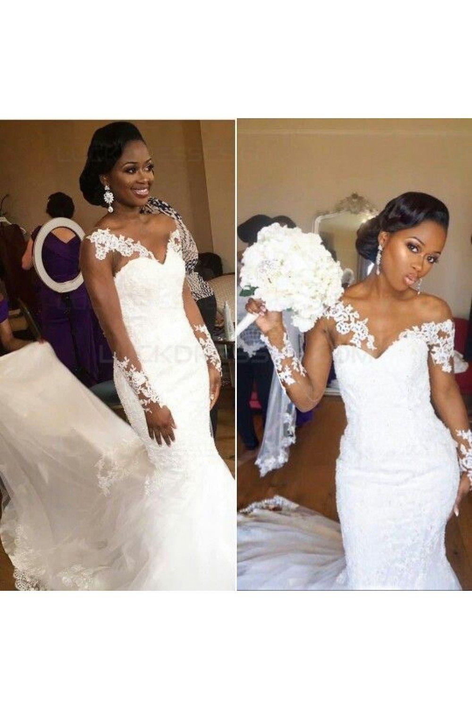 Long Sleeves Lace Mermaid Sheer Wedding Dresses Bridal Gowns 3030245 Sheer Wedding Dress Wedding Dress Train Lace Mermaid Wedding Dress [ jpg ]