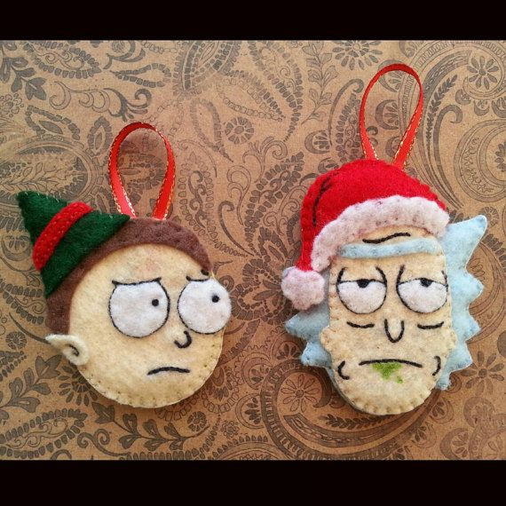 rick and morty christmas ornaments rickandmorty christmas ornaments handsewn feltornaments
