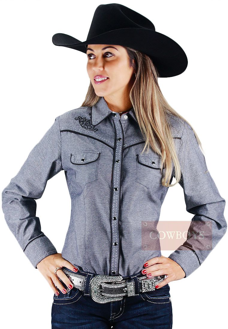 d4c2802820 Camisa Manga Longa Feminina Cinza Cowgirl Up Camisa feminina com manga  longa na cor cinza com