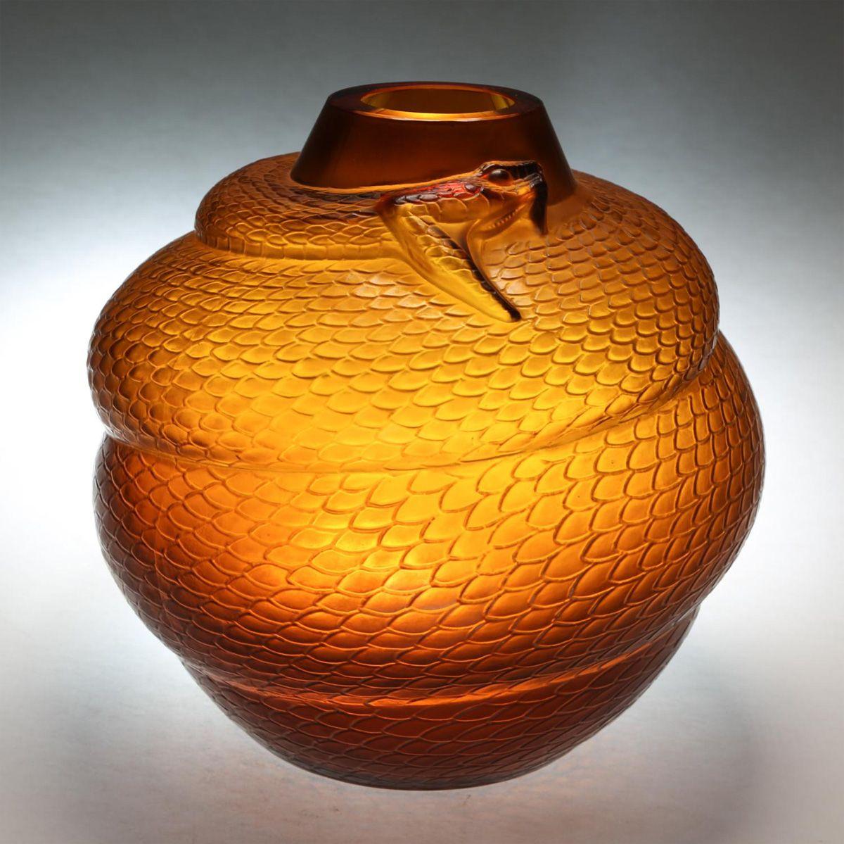 Serpent Vase by René Lalique, amber glass, 1924