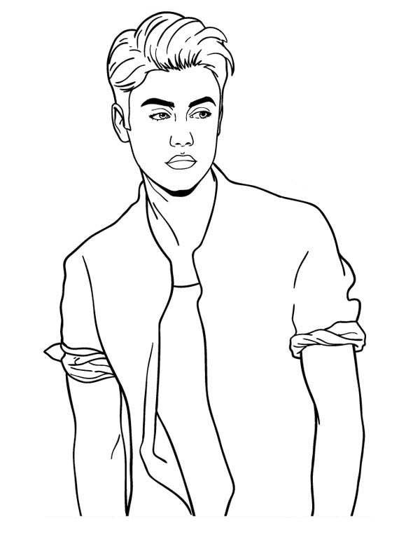 Justin Bieber Posing Coloring Page Netart Justin Bieber Sketch Disney Drawings Sketches Justin Bieber
