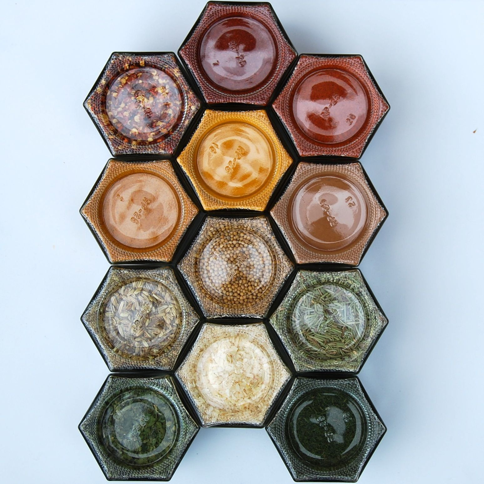 """LARGE DIY HEX SILVER: Magnetic Spice Rack (Includes 12 EMPTY Large Hexagonal Glass Jars, Magnetic Lids and Clear 1"""" Labels w/ Spice Names)"""