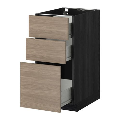 METOD / FÖRVARA Base cabinet with 3 drawers - wood effect black, Brokhult walnut effect light grey, 40x60 cm - IKEA