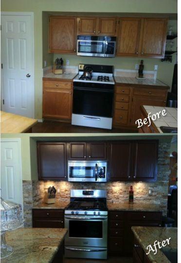 Pin By Jennifer Johnson On Home Spiration Stone Backsplash Kitchen Kitchen Remodel Taupe Kitchen