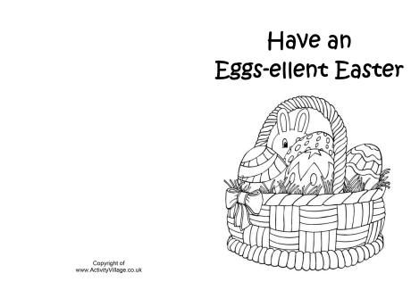 Easter Basket Colouring Card  Spring Coloring Pages