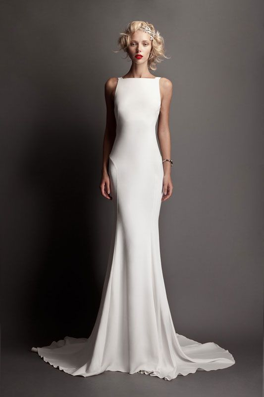 Essence Of A Woman Sleek Wedding Dress Column Dresses Plain