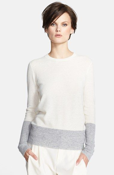 obsessed with this ivory and grey colorblock crewneck sweater