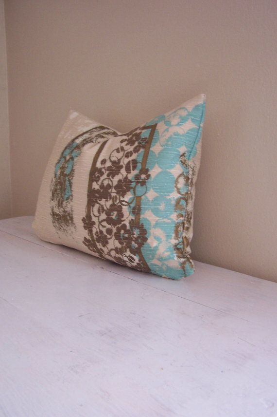 Vintage Midcentury Turquoise And Gold Stamped Pillow Cover 11 X 15 Pillows Pillow Covers