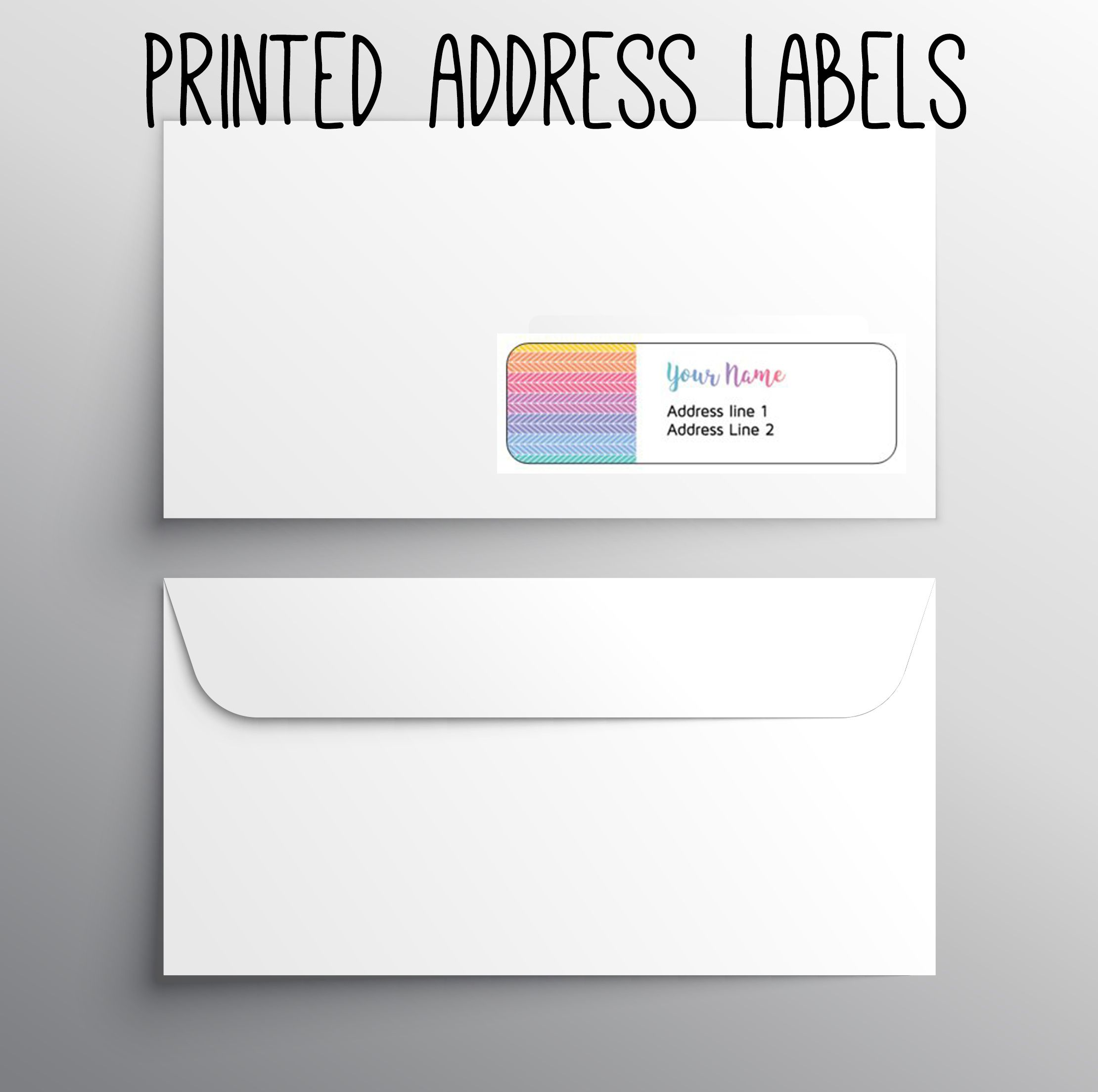 140 return address labels printed address labels fashion business labels custom digital or printed herringbone rainbow
