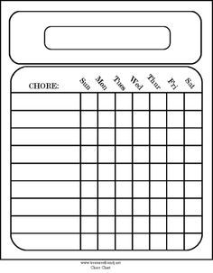 free printable blank chore charts
