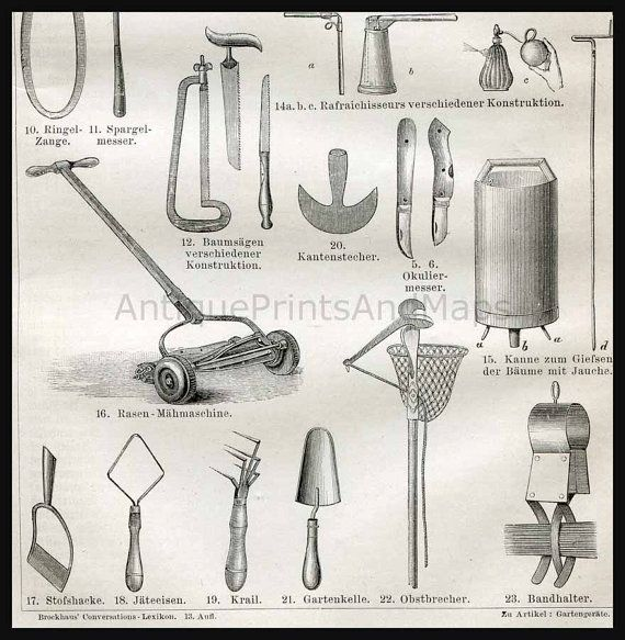 Antique Garden Tool Print Get Ready