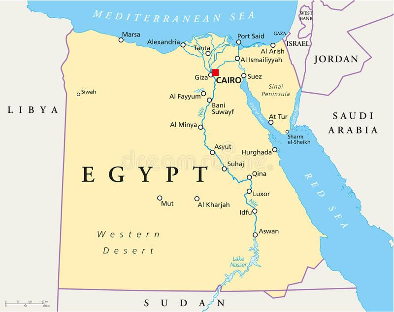 lake nasser africa map Map Of Egypt With National Borders Cities Rivers And Lakes lake nasser africa map