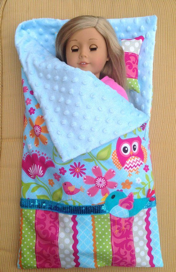 Items similar to American Girl Doll Sleeping bag and Pillow set, 18 inch Doll sleeping bag owl bird pattern your choice of embellishment on Etsy #americandolls
