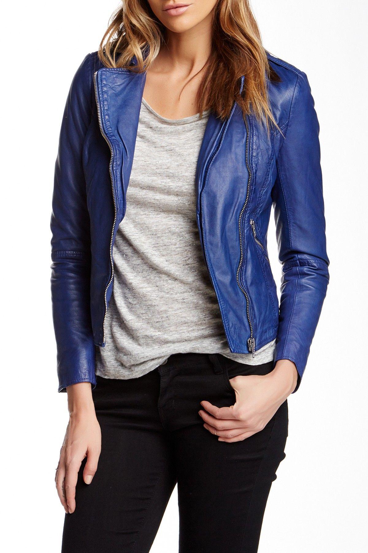 Muubaa Carmona Leather Biker Jacket (With images) Blue