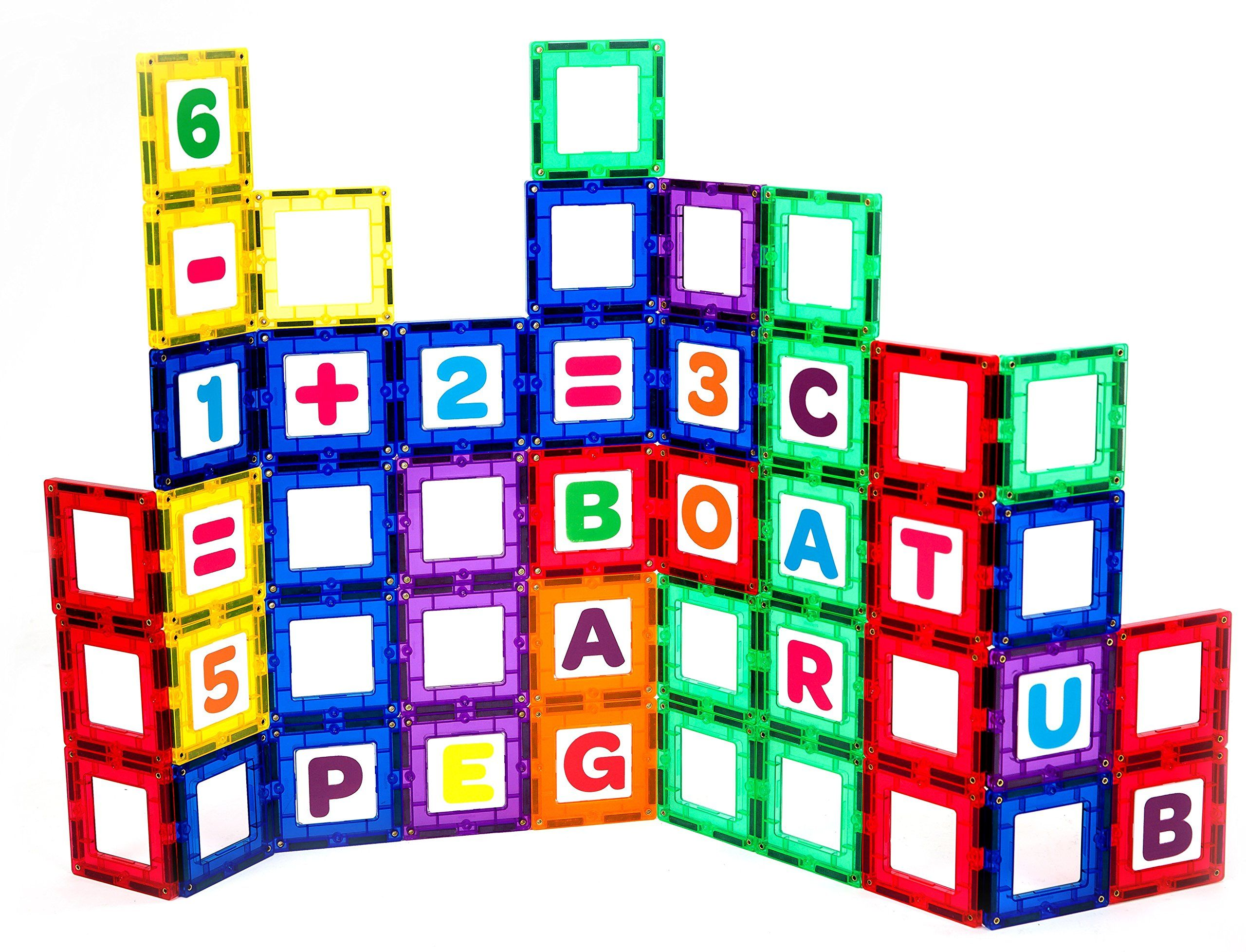 Playmags Magnetic Tile Building Set Exclusive Educational Clickins 80 Pc Kit