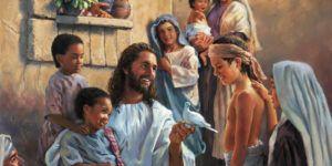 Jesús jugando con niños