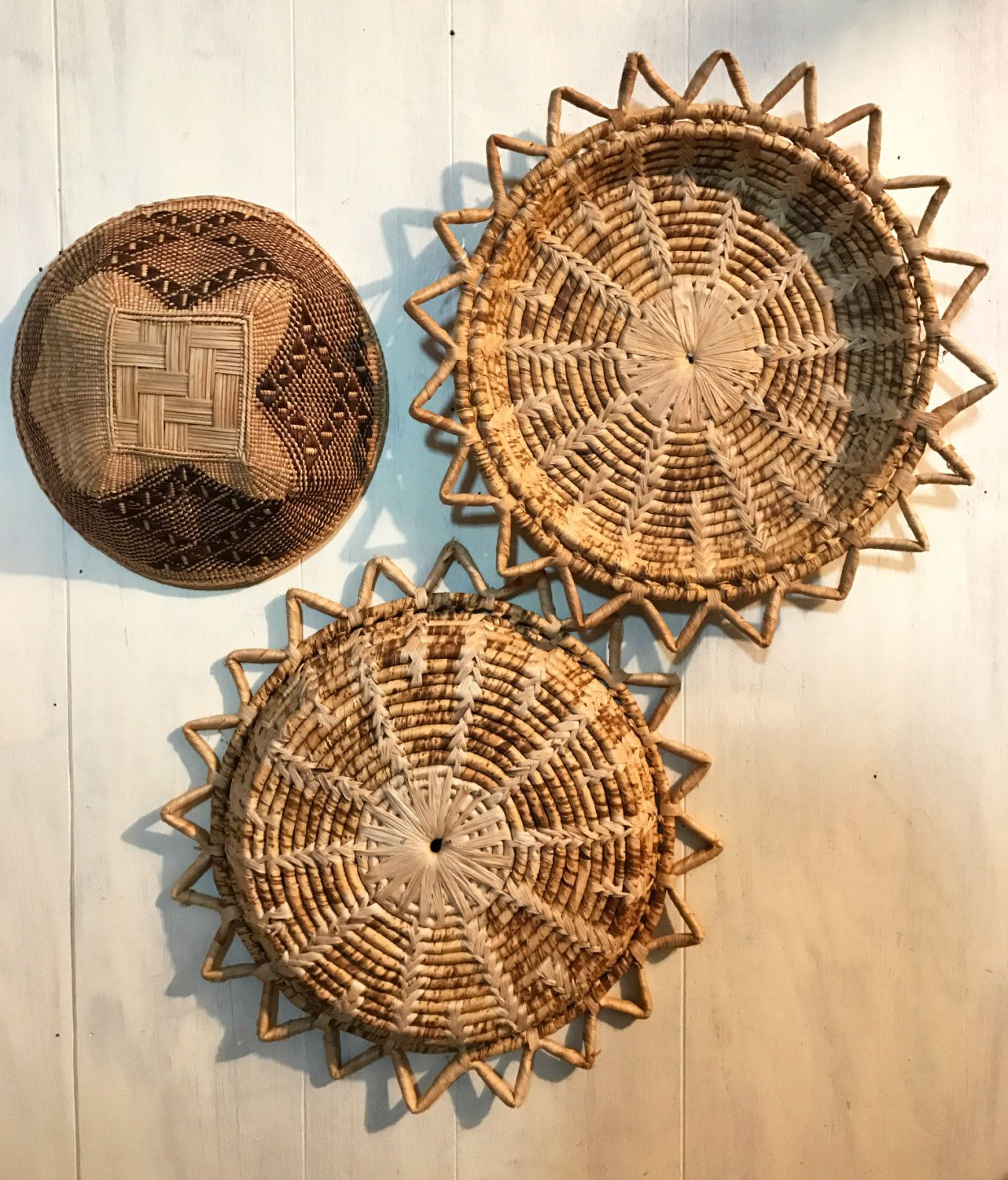 Wall Baskets Decor woven straw wall baskets - rattan basket trays - starburst basket