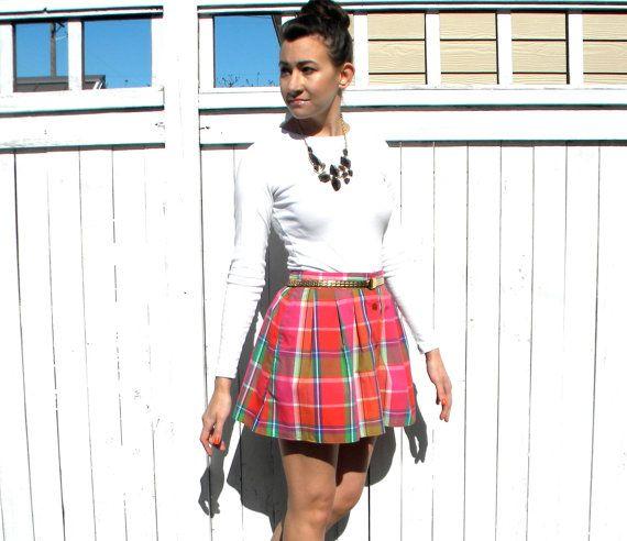 Pretty Plaid 80s Pink & Orange Print Mini Skirt