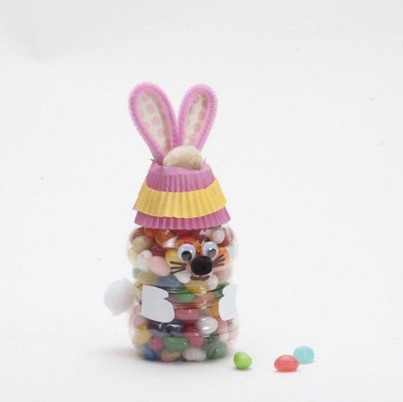 Jelly bean bunny bottle craft tutorial recycled plastic for Recycled crafts from plastic bottles