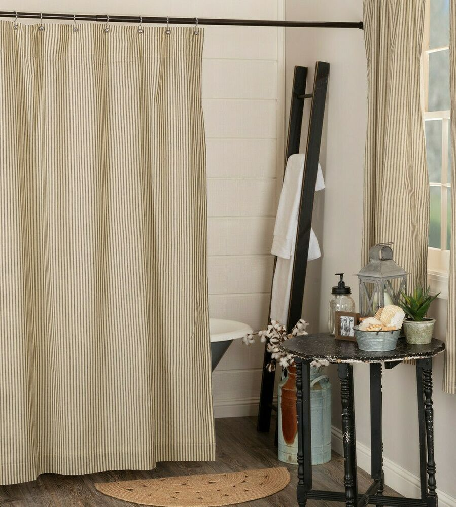 Details About Sawyer Mill Shower Curtain Charcoal Tan Ticking