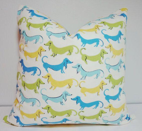 Blue Dachshund Hot Dog Pillow Decorative Pillow Cover Throw Pillow
