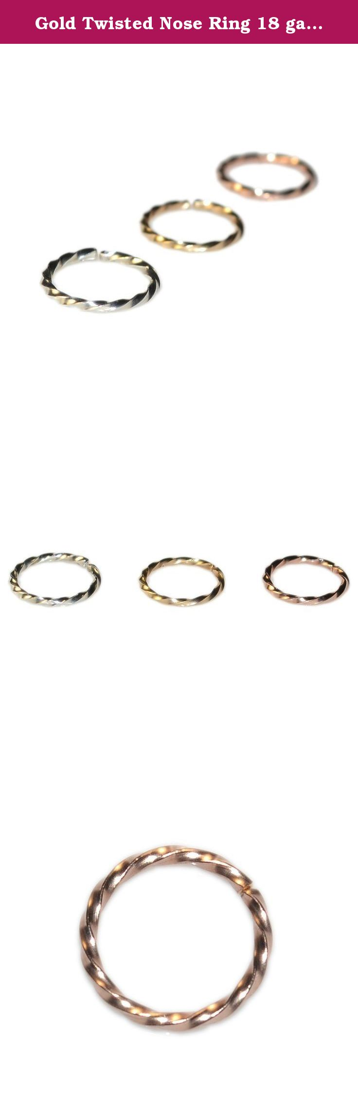 Cute nose piercing jewelry  Gold Twisted Nose Ring  gauge For Men  Daith Earring Rook