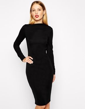 1448d3836158 ASOS Pencil Dress with Asymmetric Neck and Long Sleeves | stitch fix ...