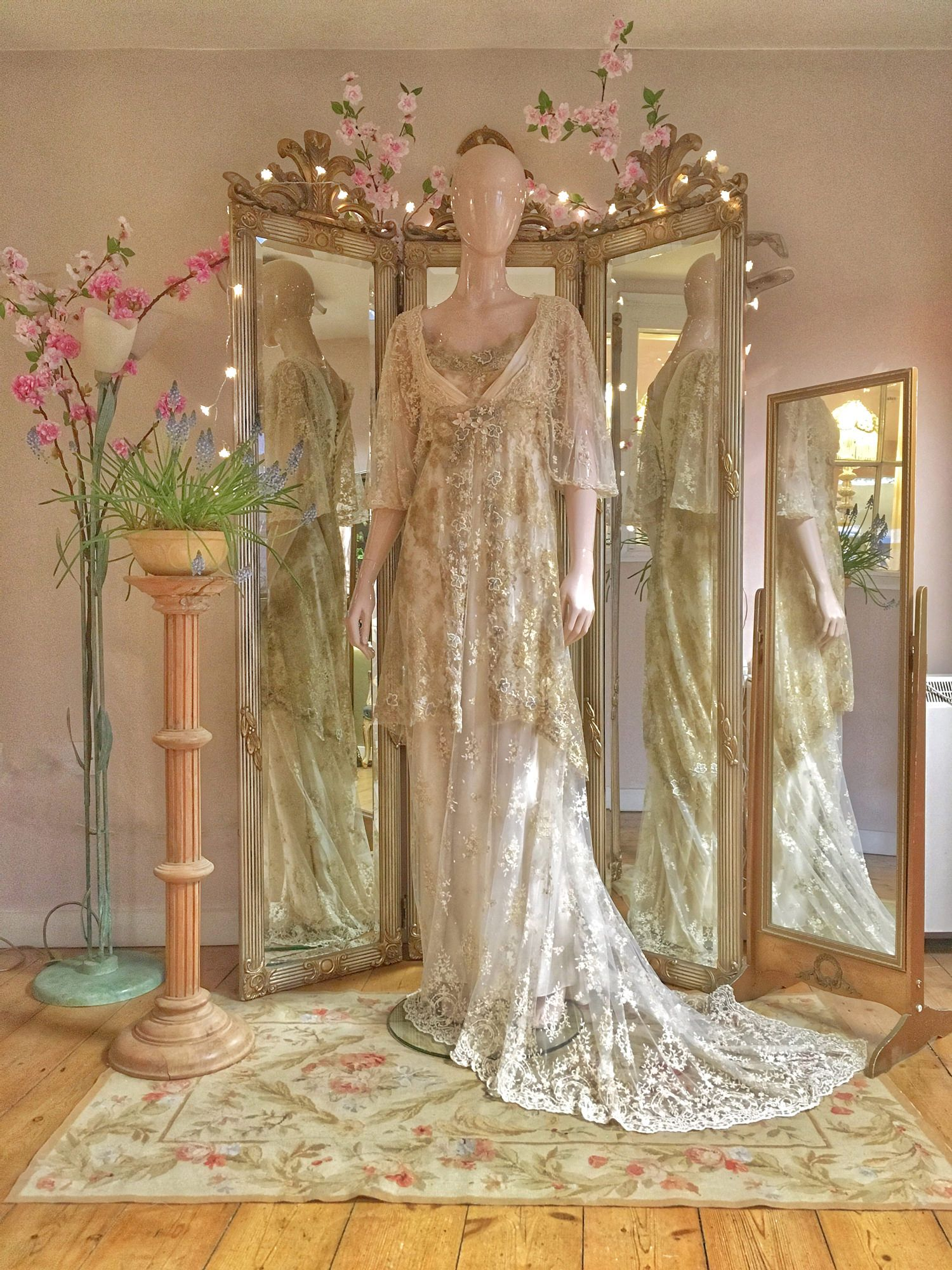 Pale Gold Cream Silk Edwardian Inspired Wedding Dress | Gold lace ...