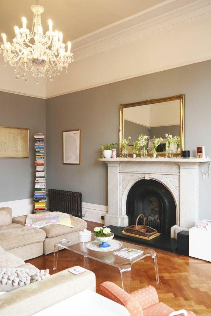 colores para salones, decoración clásica, paredes en gris y blanco