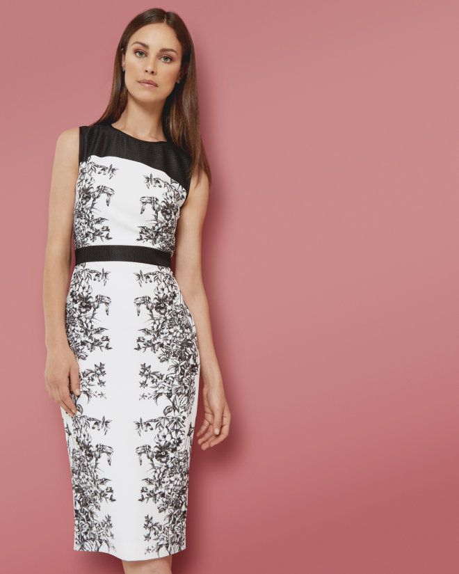 Illustrated Elegance midi dress - Black | Dresses | Ted Baker ...
