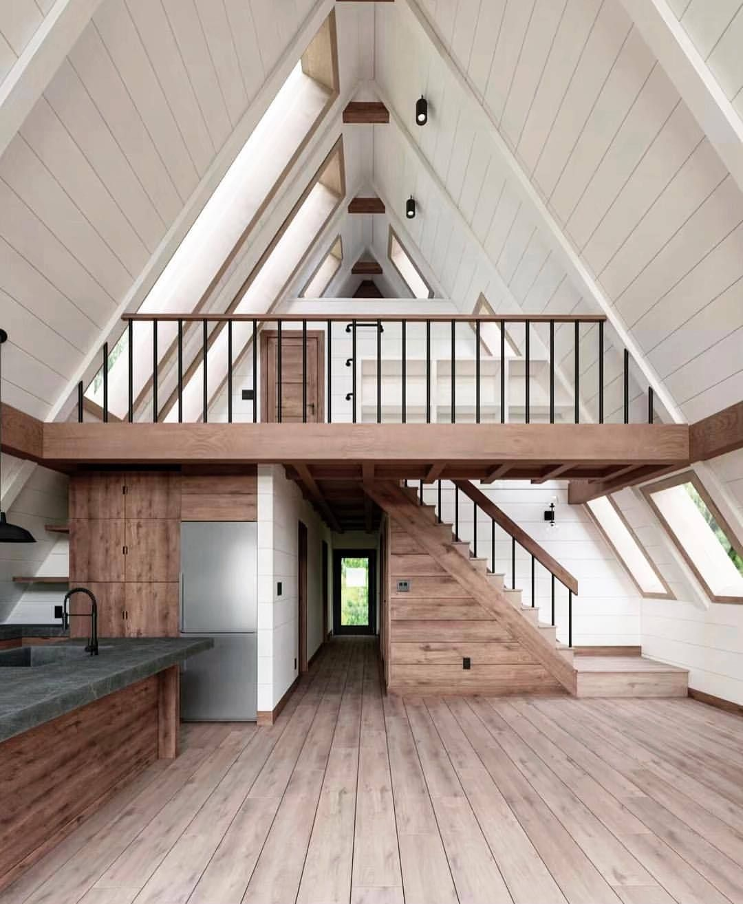 Up Knorth Wood And White Open Concept A Frame Mountain A Frame House Plans Tiny House Cabin