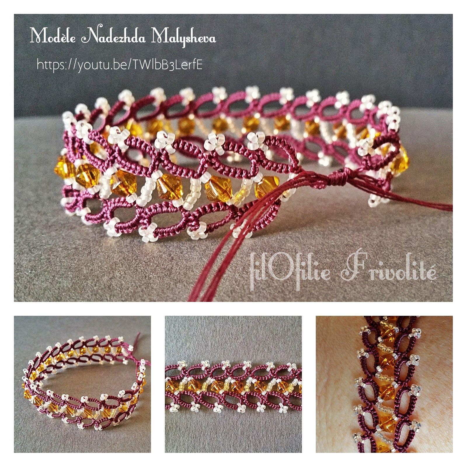 bracelet russe en frivolité et perles rocailles 12/0 et perles 4 mm