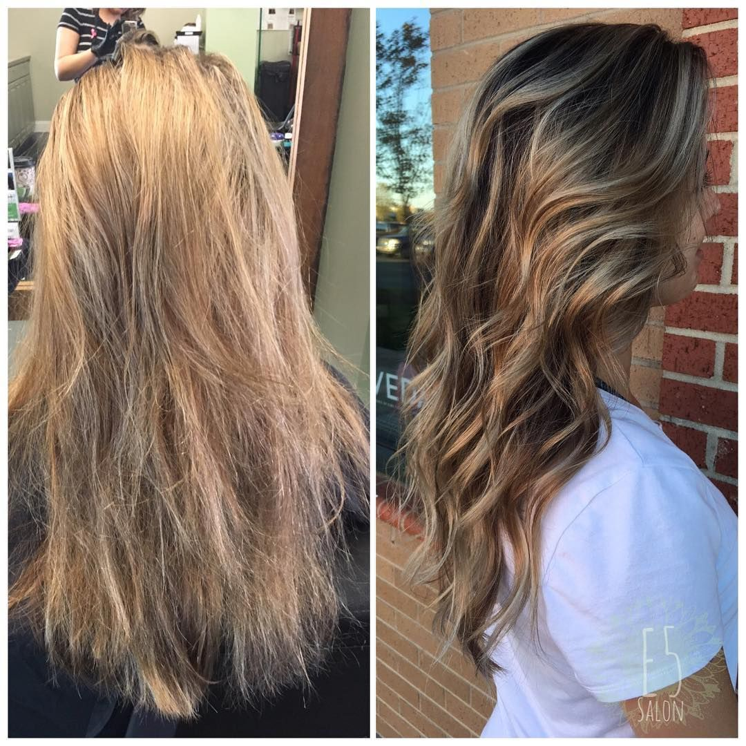 transformation from platinum to dimensional fall balayage
