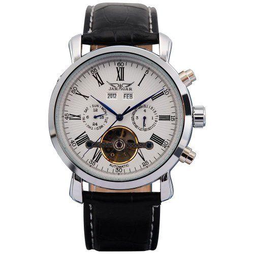 a7e4405967d AMPM24 Elegant Men Leather Automatic Mechanical White Dial Date & Day Wrist  Watch JARAGAR. $45.49