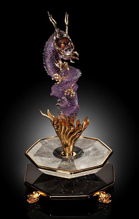 Ametrine dragon sculpture luis alberto quispe aparicio