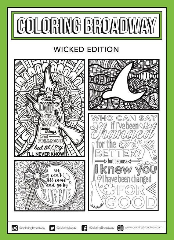 Wicked Coloring Set of 4, Broadway, Coloring Card, Musical, Theater ...