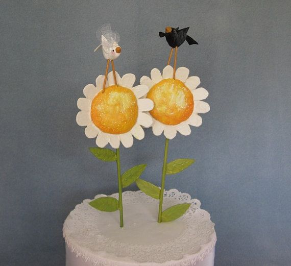 {etsy} Sunny Wedding Cake Topper: this is adorable, although this particular item is sold, maybe the shop owner could be convinced to make another like it.