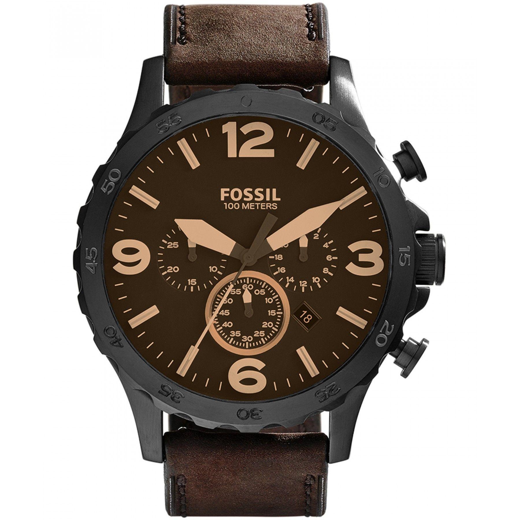 1da07618e201 Reloj Fossil con caja y bisel de acero inoxidable extensible de correa en  piel café con