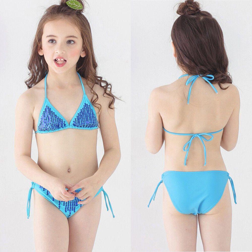 c302e0f685 2Pcs Pretty Toddler Girls Paillette Swimwear Bathing Bikini Brief Sets  Swimsuits