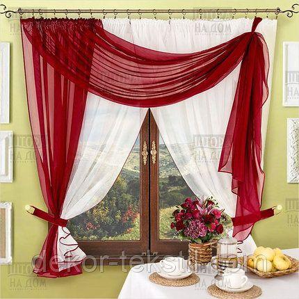 Комплект штор Милена Бордо, кухонные | Шторы для гостиной ...