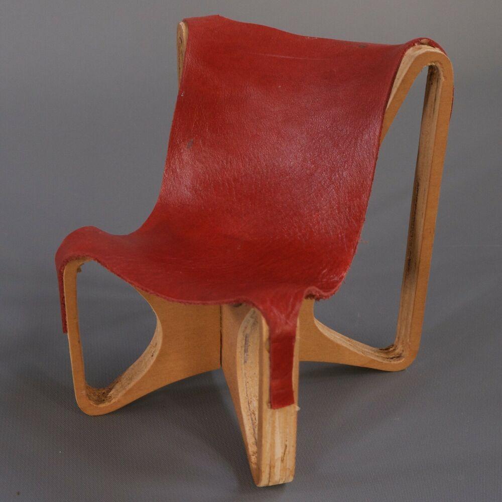 Vtg Mid Century Modern Mcm Leather Wood Sling Chair Miniature Sample Art Model Leathersling Handmade Sling Chair Midcentury Modern Chair