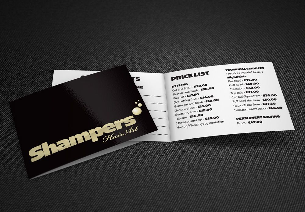 Hairdressers logo and folded business card & price list design ...