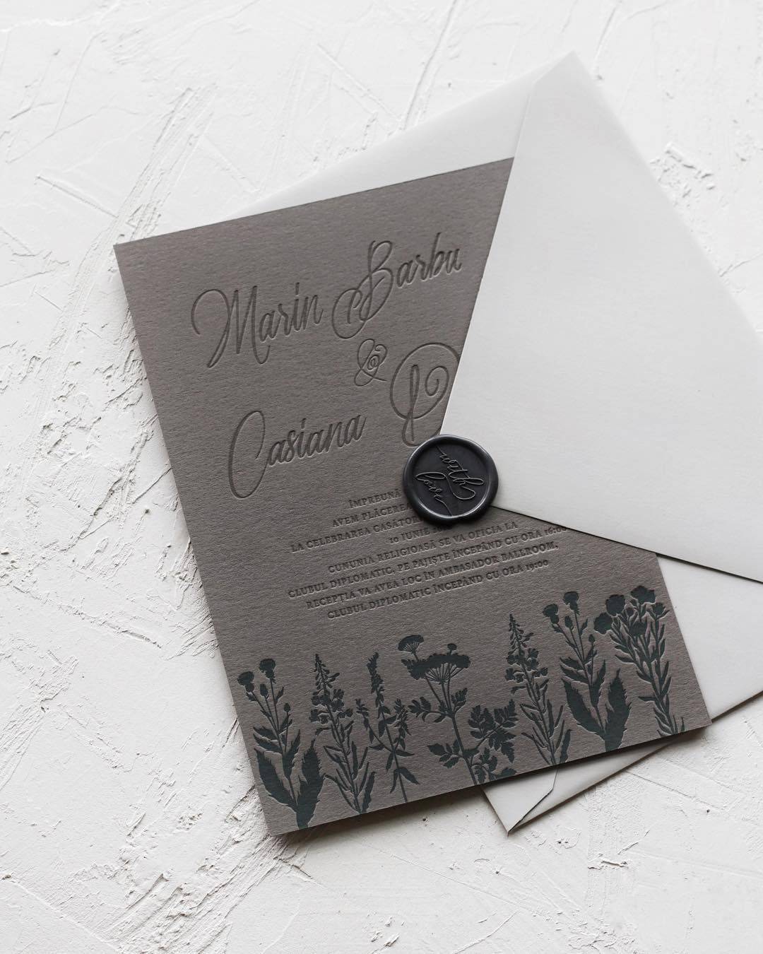 Matchy Matchy Letterpress Invite And Handmade Envelope: Grey Letterpress Wedding Invitations With Wax Seal And