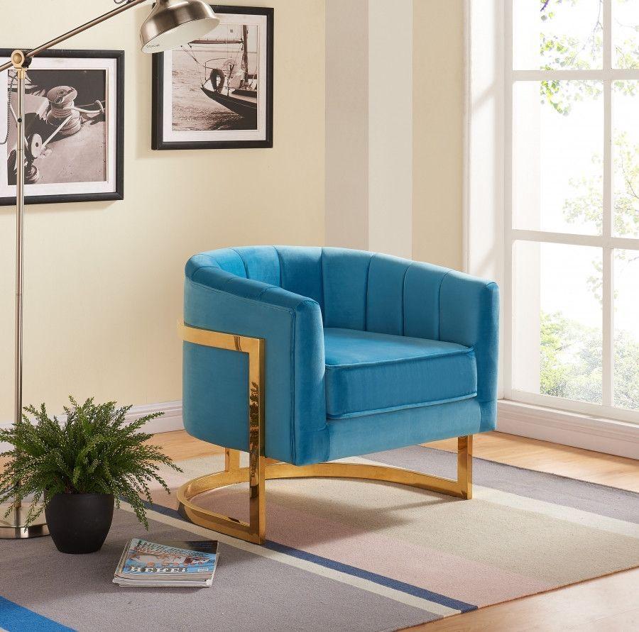 Best Meridian Carter Aqua Velvet Accent Chair 515Aqua 400 x 300