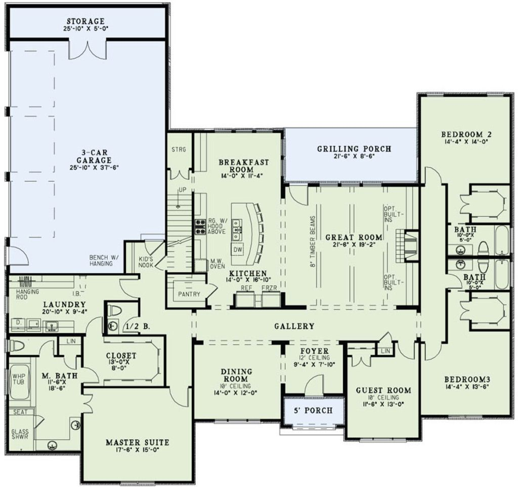 Houseplans.com Main Floor Plan Plan #17-2497 also has a bonus room upstairs